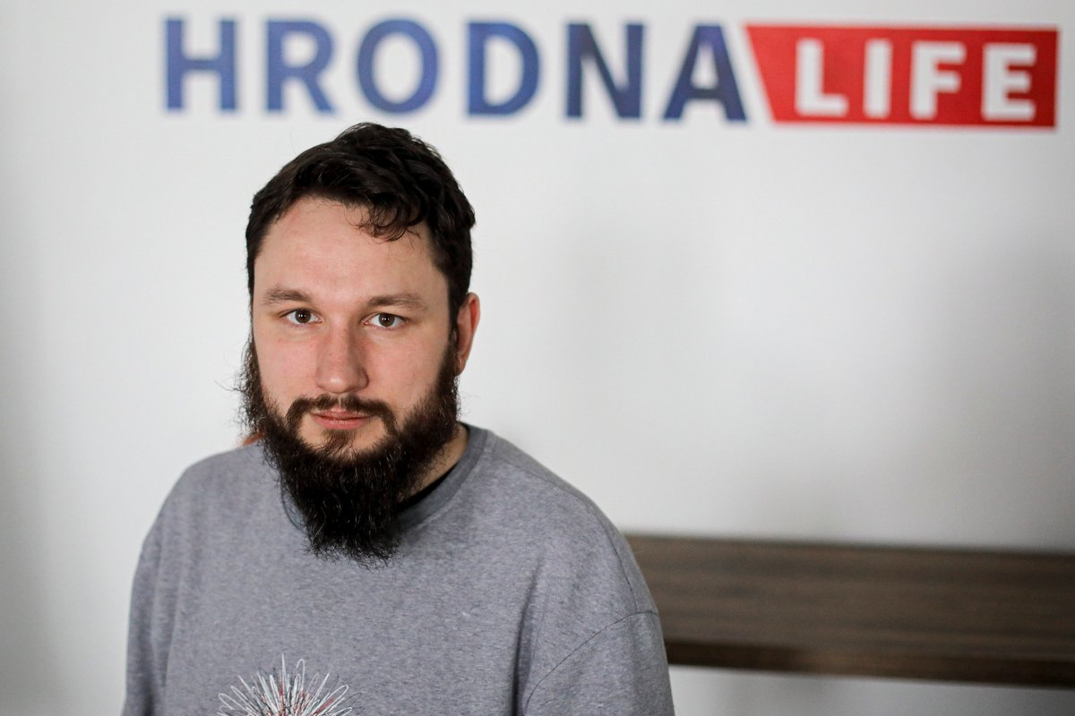 Belarusian journalist, Aliaksei Shotain, editor of Hrodna.life website poses for a photo Grodno, Belarus, May 30, 2021.