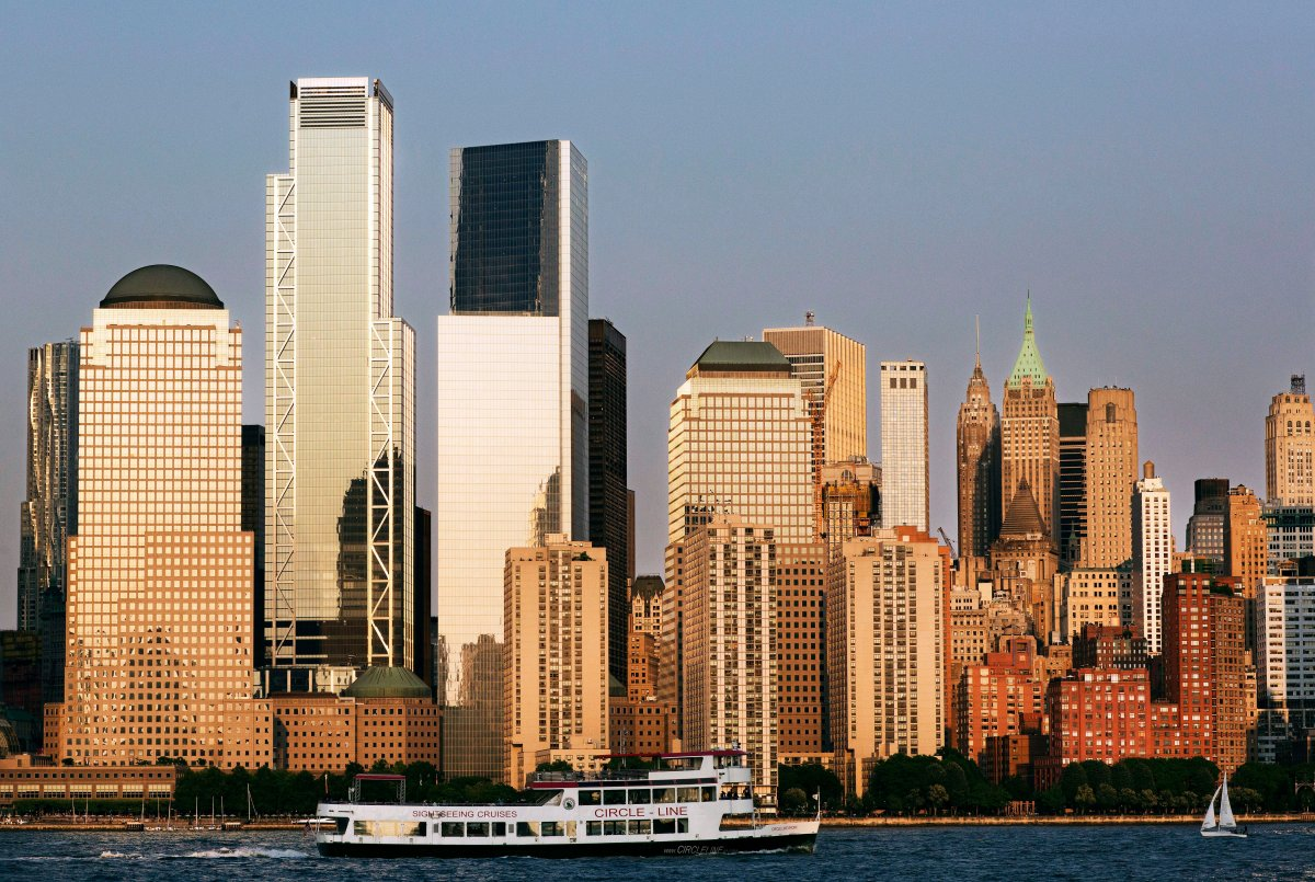 In this June 7, 2018 photo, a tour boat on the Hudson River passes 3 World Trade Center, second from left, and the lower Manhattan skyline.
