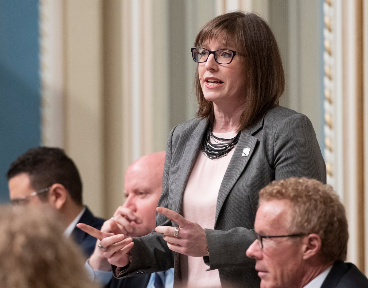 Quebec Junior Economic Development Minister Marie-Eve Proulx responds to the Opposition, during question period Tuesday, February 5, 2019 at the legislature in Quebec City.