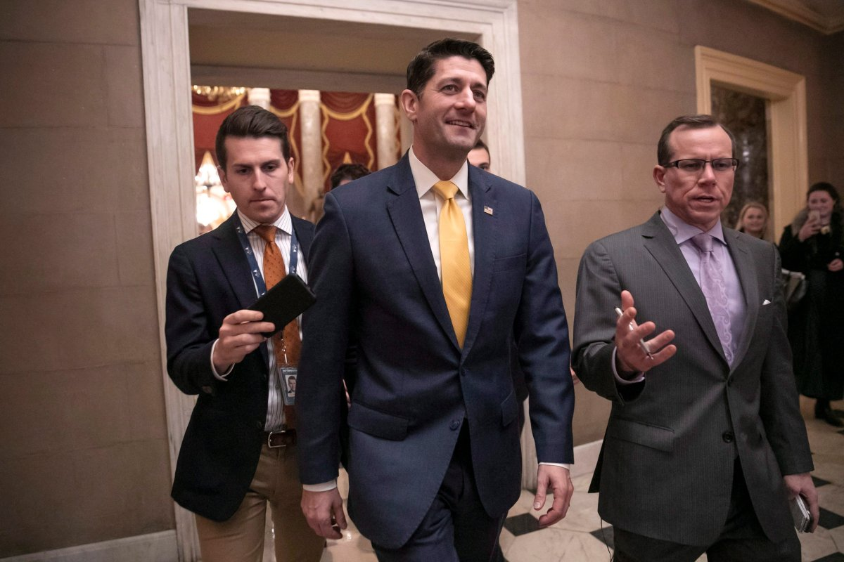 FILE - House Speaker Paul Ryan leaves the chamber after the Republican-led House approved funding for President Donald Trump's border wall in legislation that pushes the government closer to a partial government shutdown, at the Capitol in Washington, Thursday, Dec. 20, 2018.