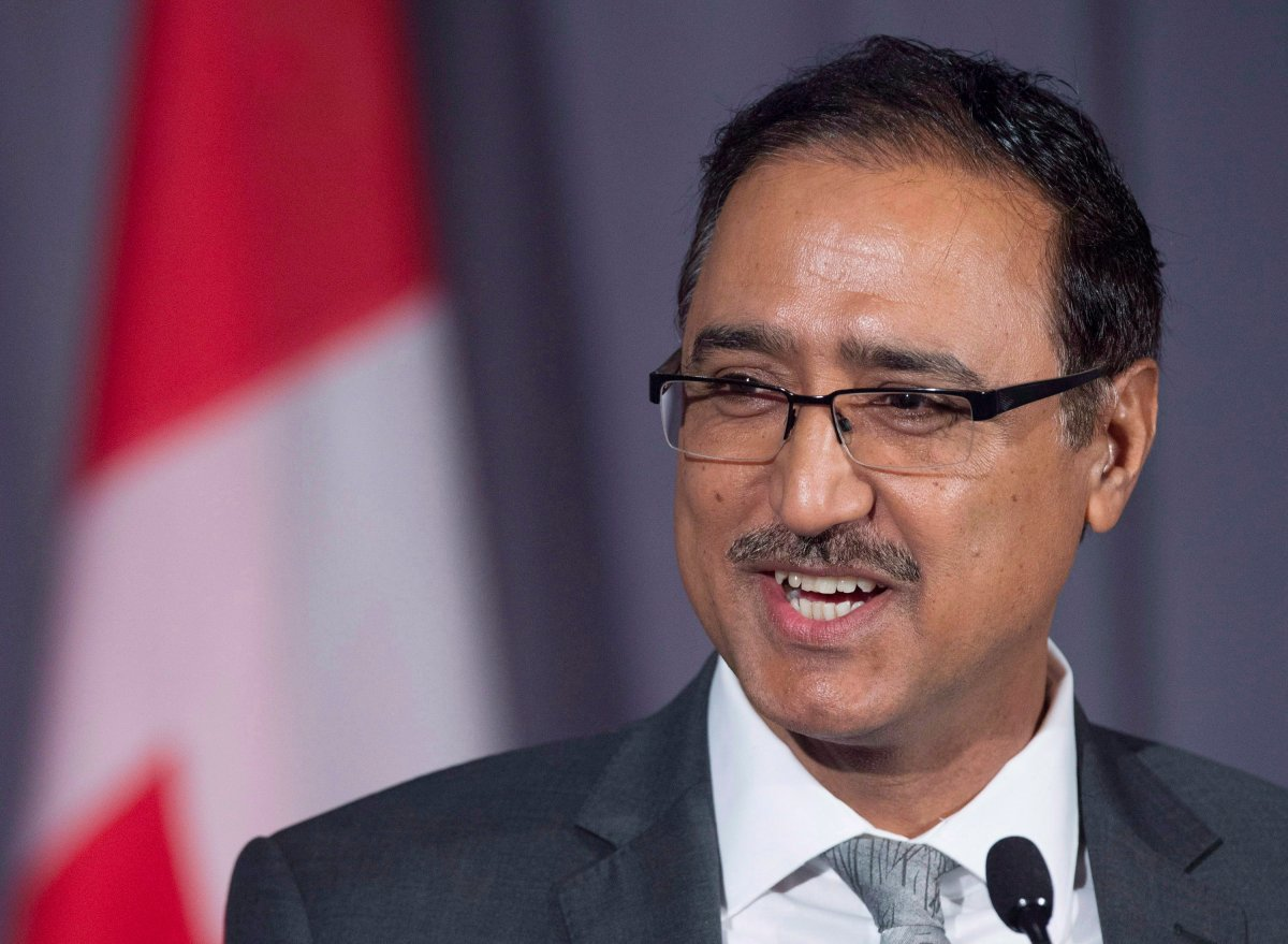 Former Canadian Natural Resources Minister Amarjeet Sohi fields questions about the government's plans regarding the Trans Mountain Pipeline Project, as the G7 environment, oceans and energy ministers meet in Halifax on Friday, Sept. 21, 2018.