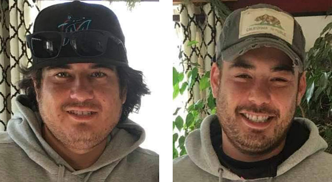 Photos of Carlos Fryer, left, and Erick Fryer of Kamloops. The two were found dead in a remote location near Naramata last week. This week, B.C. RCMP publicly identified them, adding their deaths are considered as homicides.
