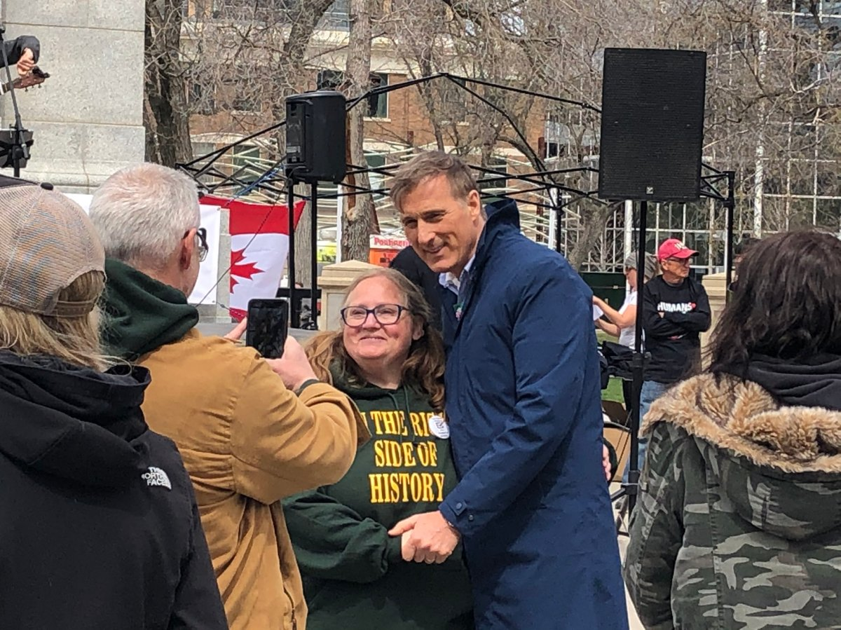 Maxime Bernier attended Saturday's protest in Regina and was ticketed.