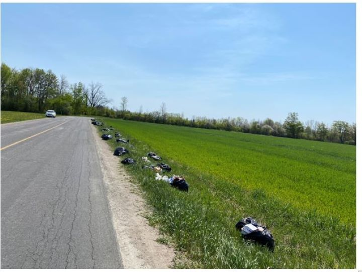 Officials said the garbage was thrown on 5/6 Sideroad between Line 1 South and Ridge Road West.