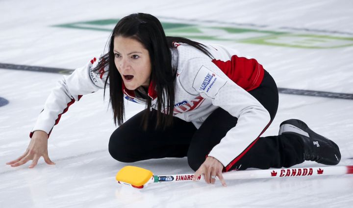 Team Canada skip Kerri Einarson directs her teammates against Estonia at the Women's World Curling Championship in Calgary, Alta., Wednesday, May 5, 2021.