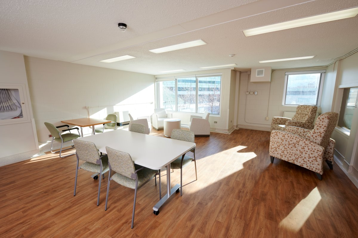 A family room at St. Boniface Hospital's McEwen Building following renovations.