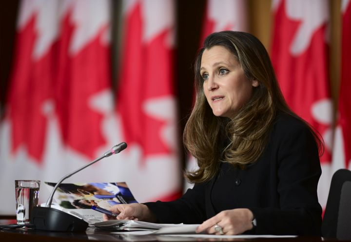 Finance Minister Chrystia Freeland holds a press conference in Ottawa on Tuesday, April 20, 2021.
