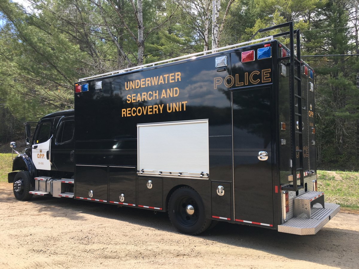 The OPP's underwater search and recovery unit recovered the body of an Ajax, Ont., man from Mink Lake on May 19, 2021.