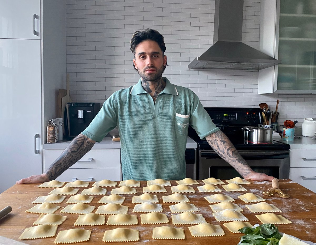 Luca Labelle Vinci, apprentice pasta maker at BarBara restaurant and wine bar in Saint-Henri, is photographed making homemade ravioli in a friend's kitchen in the Plateau, Montreal.