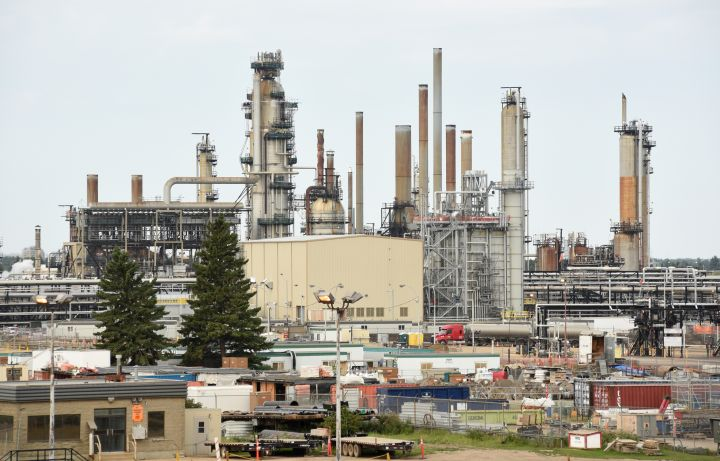 A view of  the Imperial Oil Refinery in Edmonton, Alberta on August 20, 2020.