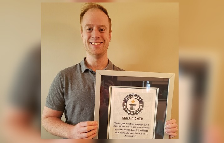 Moose Jaw resident Jared Dormer officially holds a Guinness World Record after playing the Cajon drum for nearly 26 hours straight beginning on Jan. 15.
