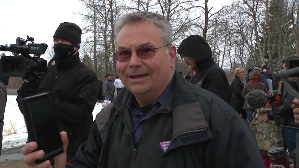 Kevin Johnston attending a rally outside GraceLife Church in Parkland County, near Edmonton, on April 11, 2021.