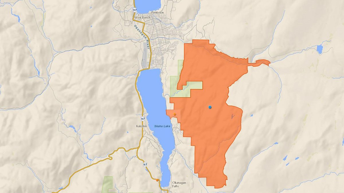 A map showing the McTaggart-Cowan/nsək'ɬniw't wildlife management area in orange. A portion of the wildlife management area was severely damaged by the massive fire that razed 2,122 hectares last August.