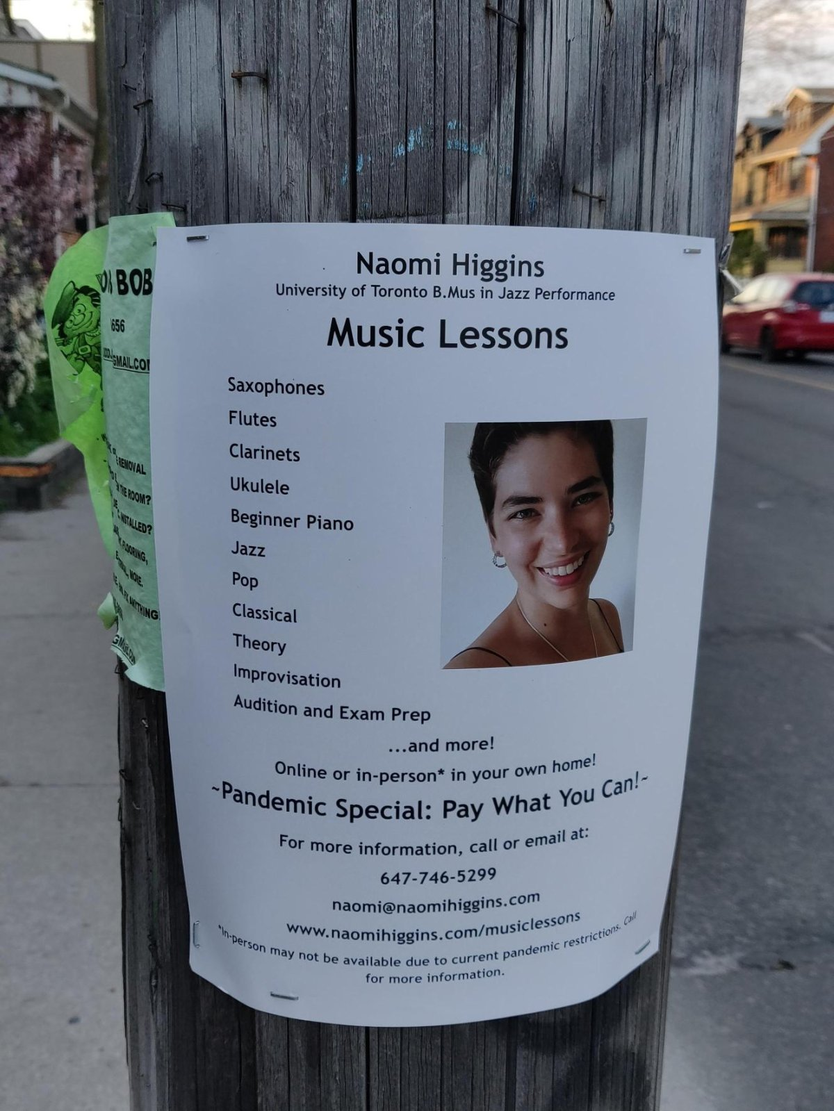 A poster on Ossington Ave., advertising Naomi Higgin's pandemic special: 'pay-what-you-can' music lessons.