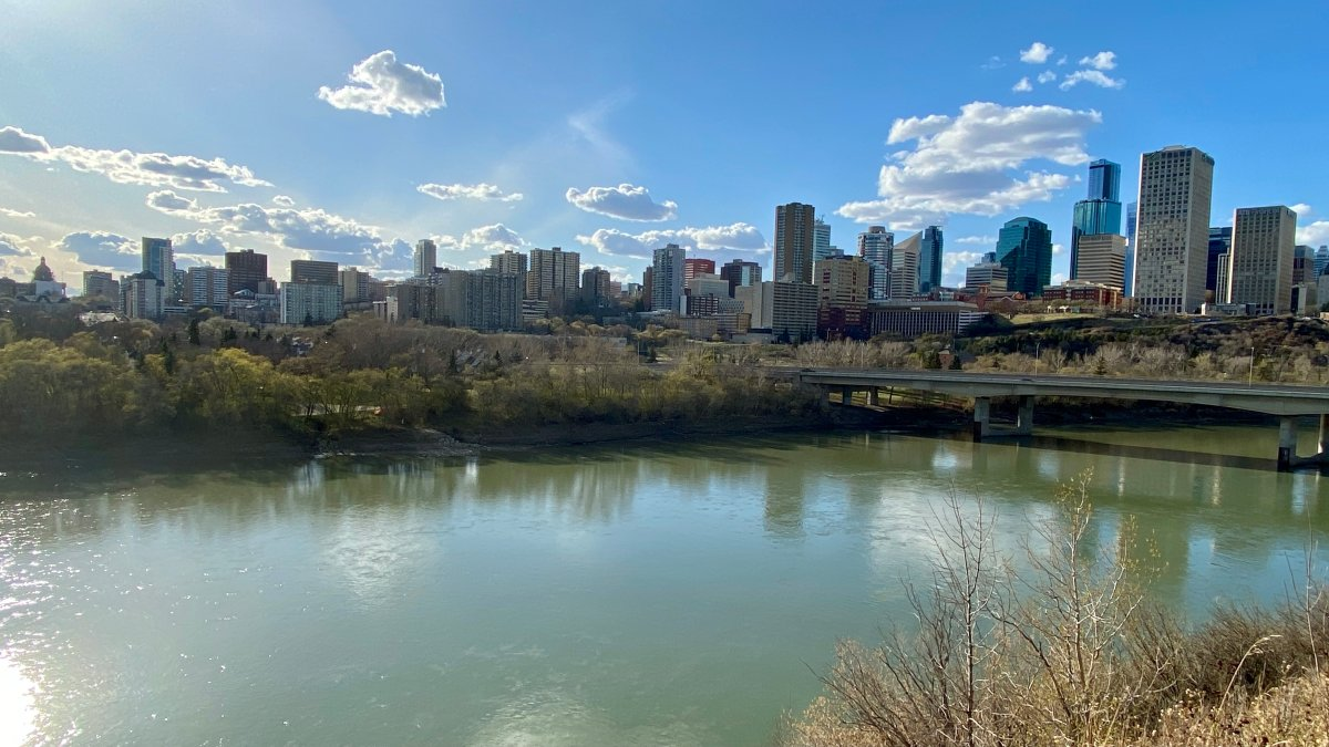 The city of Edmonton as seen from the North Saskatchewan River, on May 5, 2021.