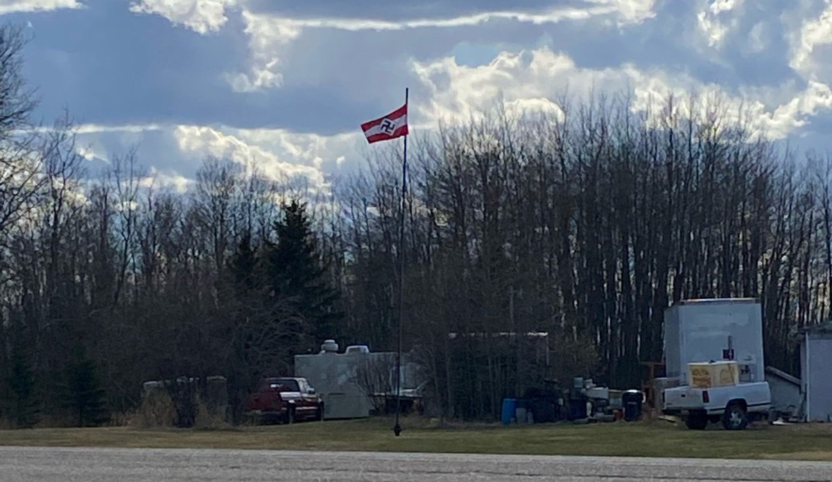 A Nazi Hitler Youth flag flying on a property near Boyle, Alta. in May 2021.