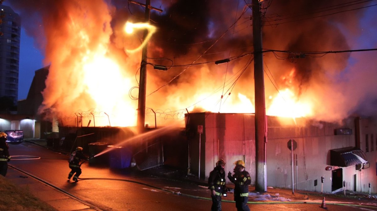 Fire crews were called to a large blaze at a nightclub under construction in downtown New Westminster Monday morning.