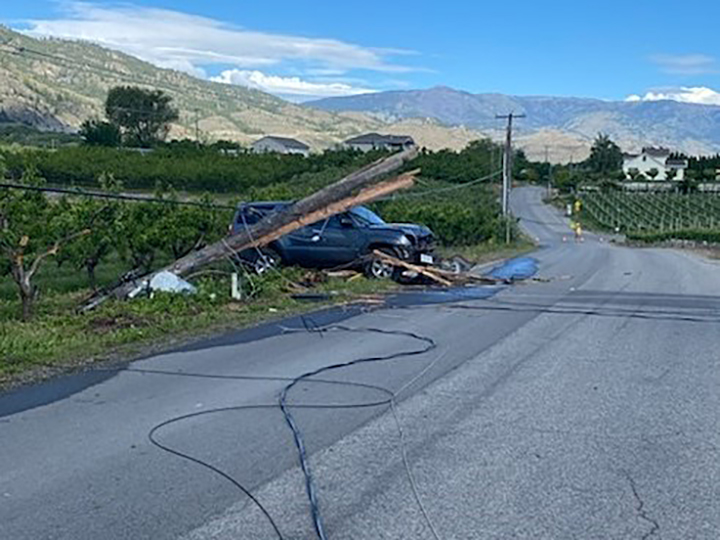 The accident on 87th Street in Osoyoos happened around 8:15 a.m., with a northbound Toyota 4Runner leaving the road and striking a utility pole.