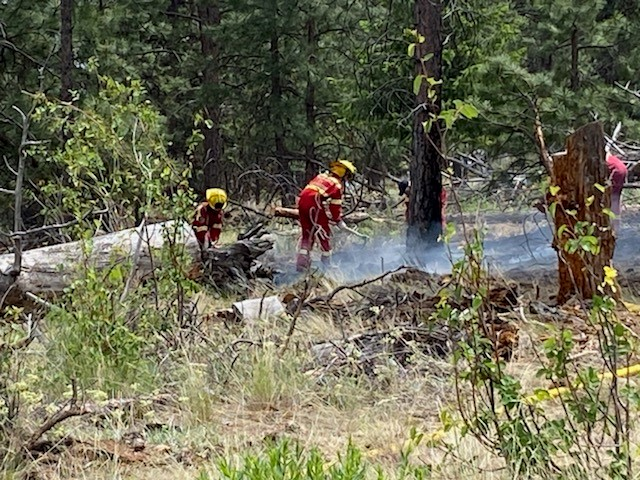 Crews douse a grass fire in Peachland on Thursday afternoon. The rank-one fire was estimated to be 15 metres (50 feet) by 30 metres (100 feet) in size, and was burning along a steep hill.