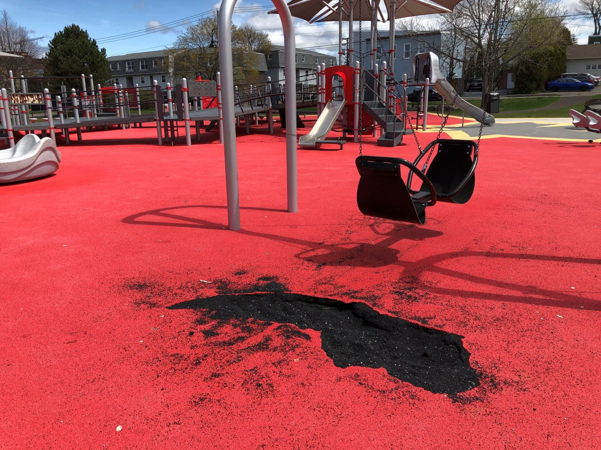 The Canadian Tire Jumpstart Playground at Rainbow Park in Saint John saw its playing surface damaged in May 2021.