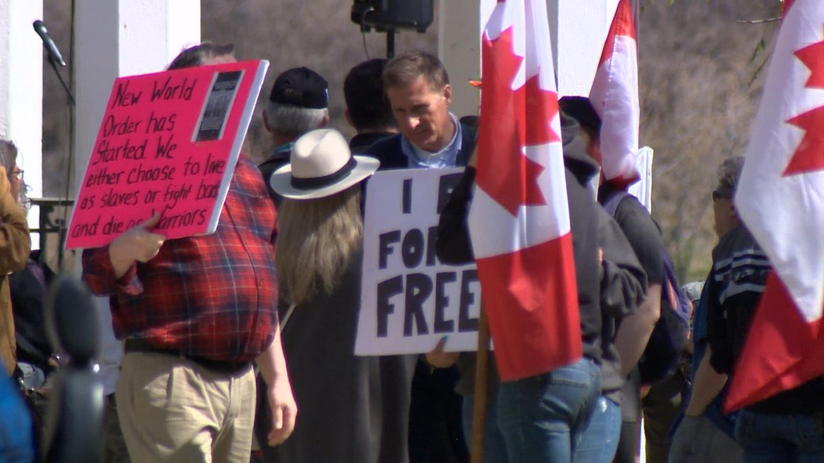 Saskatoon police said 18 people who were observed to have varying levels of involvement at the rally on Sunday, May 9, 2021. were issued tickets.
