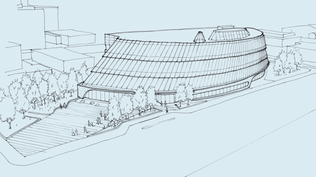 The exterior of the concept design of Saskatoon's new central library references the First Nation tipi, while the interior mass timber structure is drawn from the Métis log cabin.
