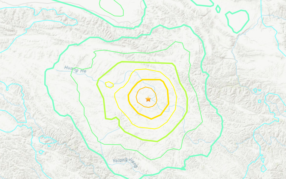 The location of an earthquake near the China-Myanmar border on May 21, 2021.