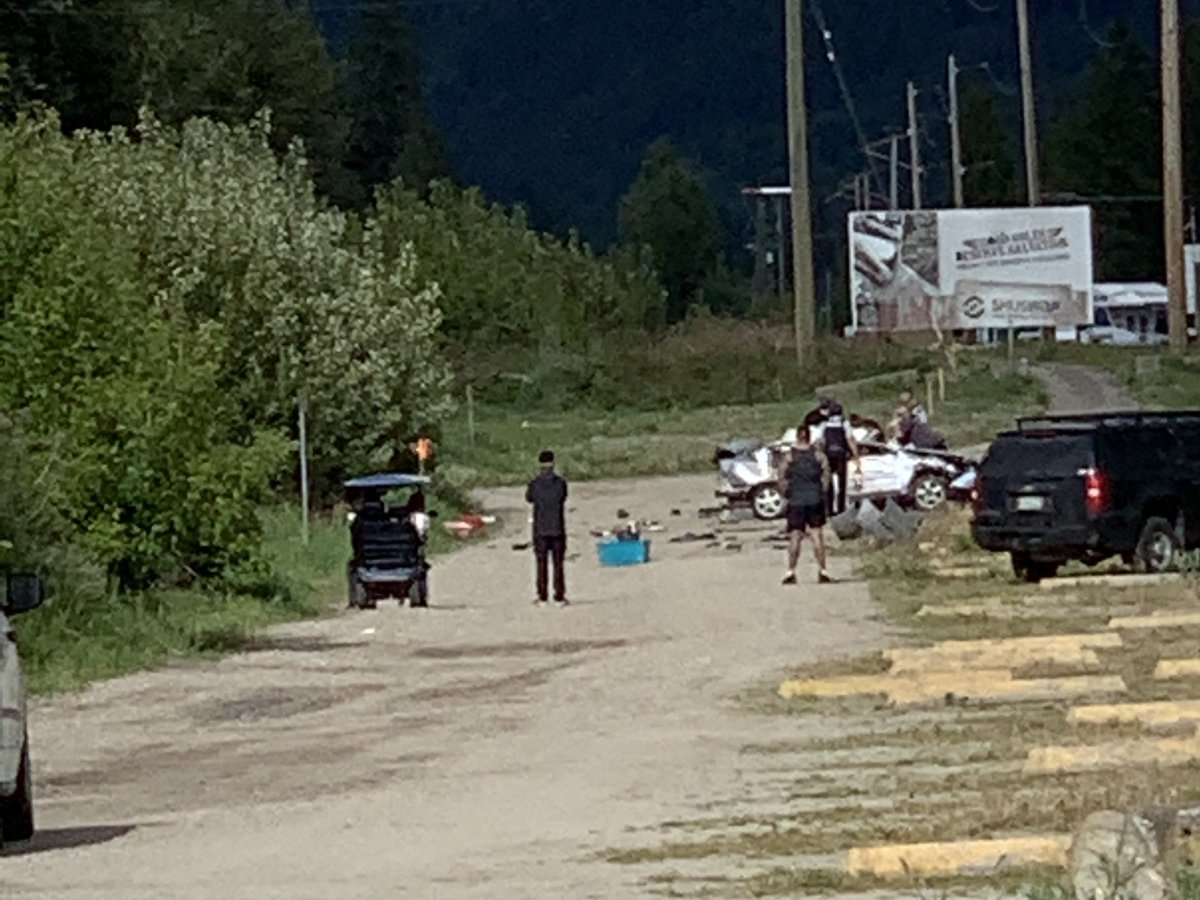 Police say an eastbound vehicle was allegedly seen passing multiple vehicles near Salmon Arm on Thursday afternoon, including an unmarked police vehicle. That vehicle later crashed, killing the female passenger.
