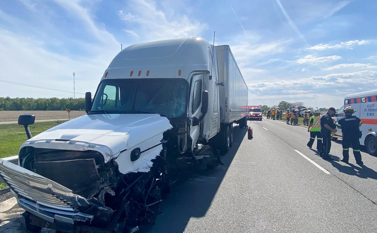 Truck driver seriously hurt after colliding with crash protection vehicle on Highway 401: OPP - image