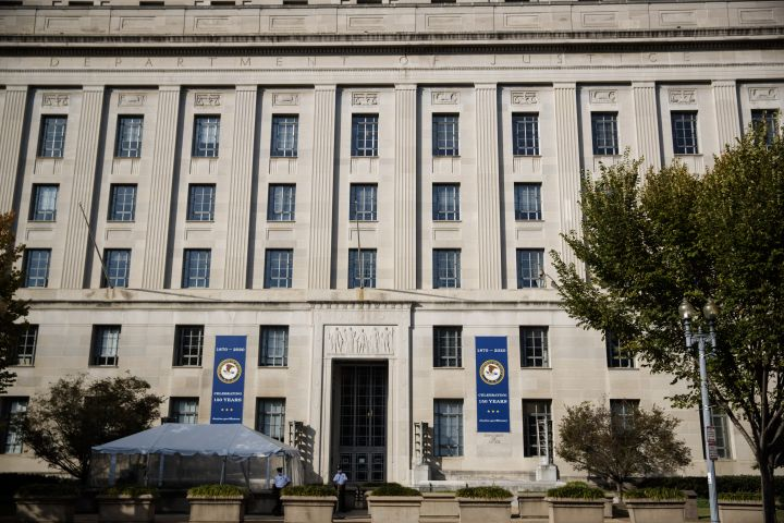 Photo taken on Oct. 20, 2020 shows the U.S. Department of Justice building in Washington D.C.
