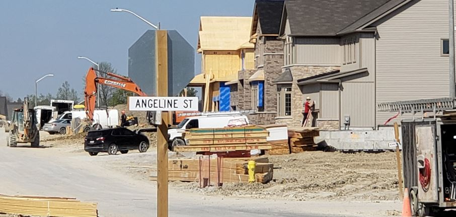 Construction continues at a new subdivision off of Angeline Street in Lindsay.