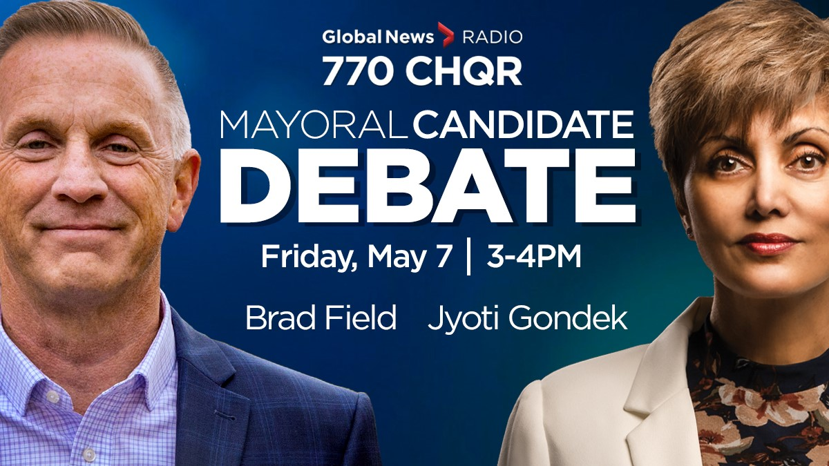 Calgary mayoral candidates Brad Field and Jyoti Gondek (L to R) debated a host of topics on Global News Radio 770 CHQR on May 7, 2021.