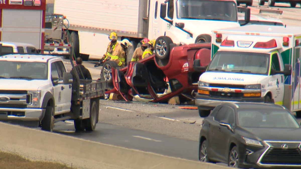 A rollover on Deerfoot Trail caused traffic backups on Tuesday afternoon.