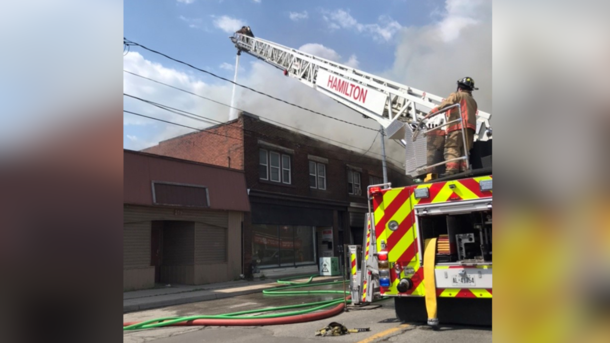 A three alarm fire on Tuesday May 19, 2021 in Hamilton's east end on Kenilworth Avenue North just south of Barton Street East sent two people to hospital, according to firefighters.
