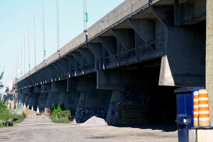An emergency closure of Ile-aux-Tourtes bridge to all traffic was ordered by the Ministry of Transport on Thursday afternoon until further notice. Pictured in Montreal, Quebec, Monday, May 24, 2021.