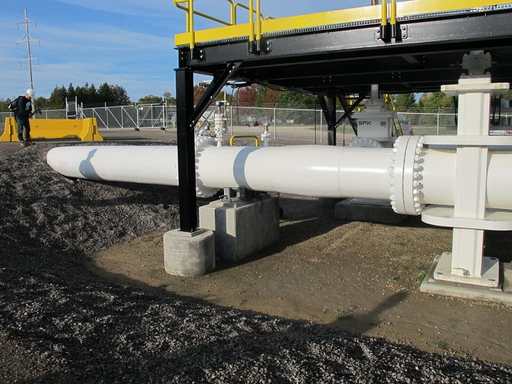This photo taken in October 2016 shows an aboveground section of Enbridge's Line 5 at the Mackinaw City, Mich., pump station. Michigan Gov. Gretchen Whitmer has ordered the pipeline shut down because of concerns about a potential spill in the channel that connects Lake Huron and Lake Michigan. Enbridge is resisting the order with the support of Canadian officials who say Line 5 is essential to their economy. The disagreement comes months after U.S. President Joe Biden upset Canada by canceling the Keystone XL oil pipeline project.