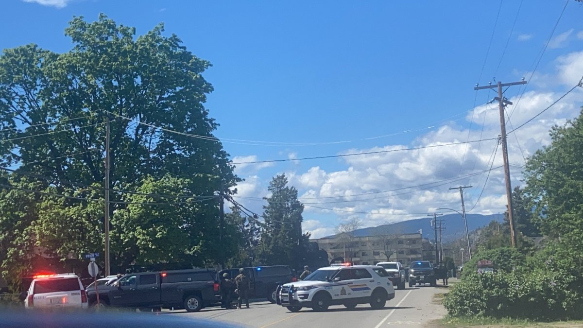 Police converge on a home in the 300-block of Prior Road N in the Rutland area of Kelowna on Sunday, May 2, 2021.