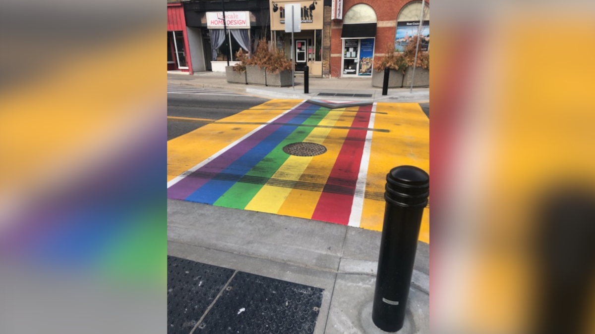 OPP say tire marks left on a newly unveiled rainbow crosswalk in Paris, Ont. is being investigated as a mischief case as of May 17, 2021.
