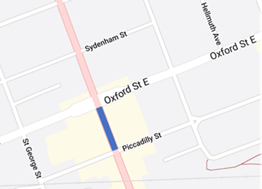 Richmond Street will be closed between Oxford Street East and Piccadilly Street from 7 a.m. to 7 p.m. Tuesday.