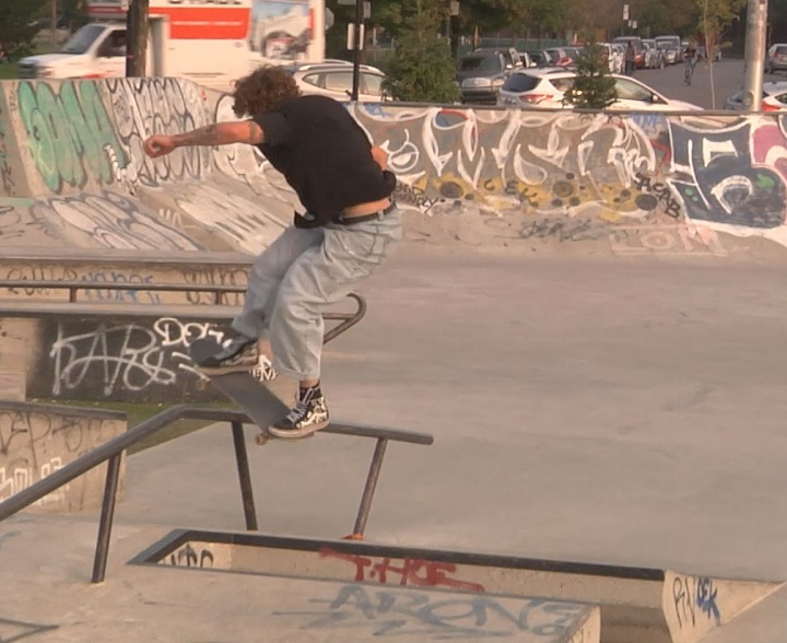 Marc-André Séguin skating at Montreal park in the summer of 2020.