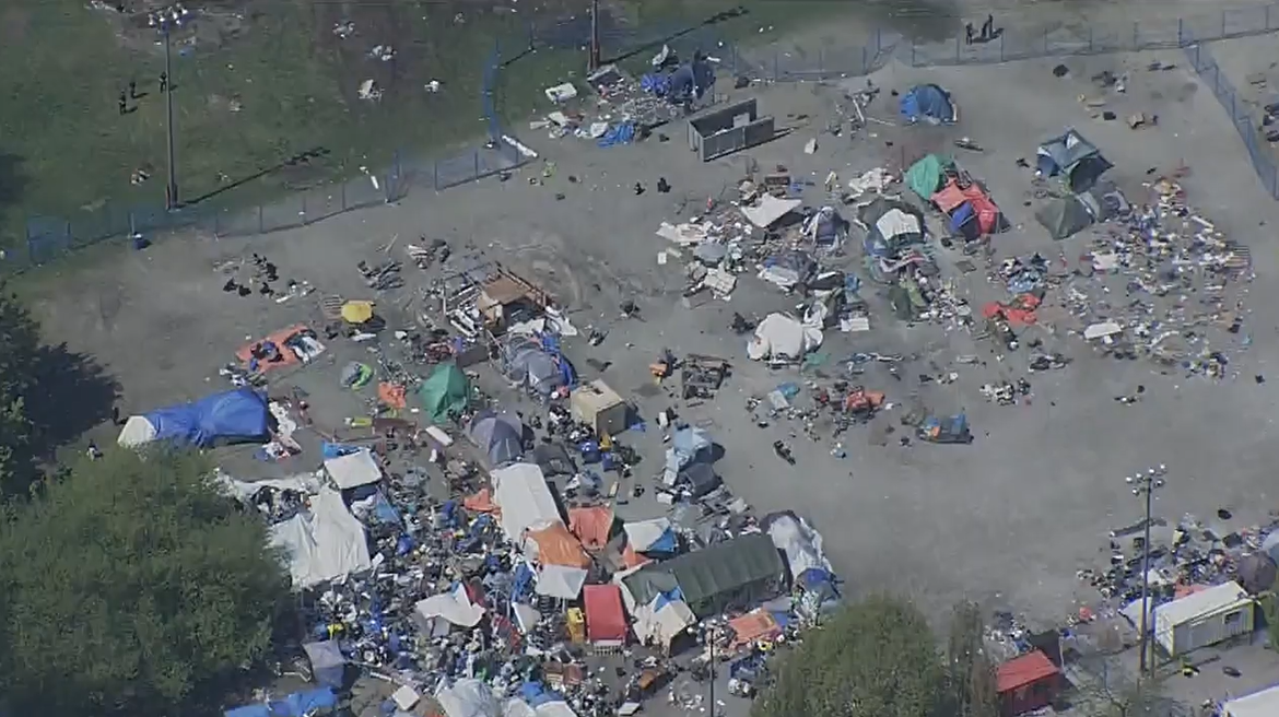 An aerial view of Strathcona Park on Sunday as crews worked to remove structures left over from a controversial homeless camp.
