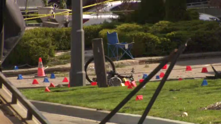 The scene of the crash in Vaughan on Sunday.