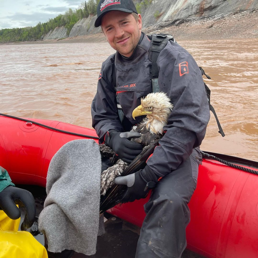 Tidal bore rafter Emmett Blois helped rescue a bald eagle from the Shubenacadie River over the weekend.