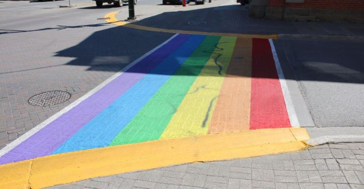 Officers said the suspect/s spray-painted the crosswalk at Broadway and Mill streets.