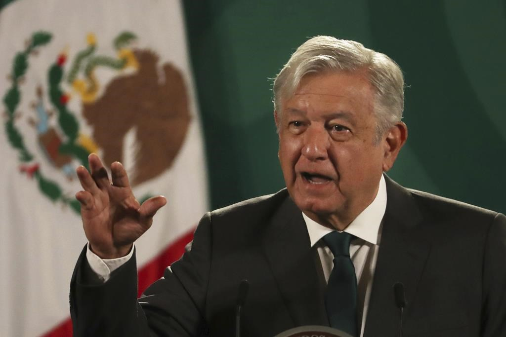 Mexican President Andres Manuel Lopez Obrador gives his daily press conference at the National Palace in Mexico City, Tuesday, June 8, 2021. (AP Photo/Marco Ugarte).