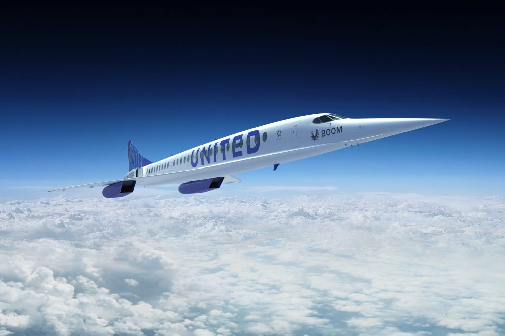 This concept image shows a Boom Supersonic Overture jet in flight.