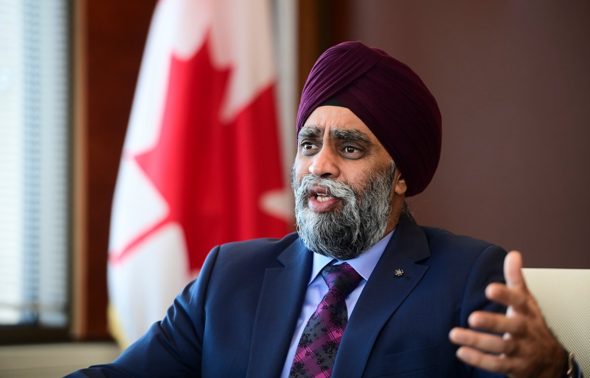 Minister of National Defence Harjit Sajjan takes part in a year-end interview with The Canadian Press at National Defence Headquarters in Ottawa on Thursday, Dec. 17, 2020.