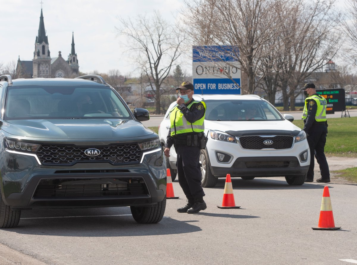 Ontario Provincial Police check travellers entering Ontario from Quebec as new COVID-19 measures take effect Monday, April 19, 2021  in Hawkesbury, Ontario.