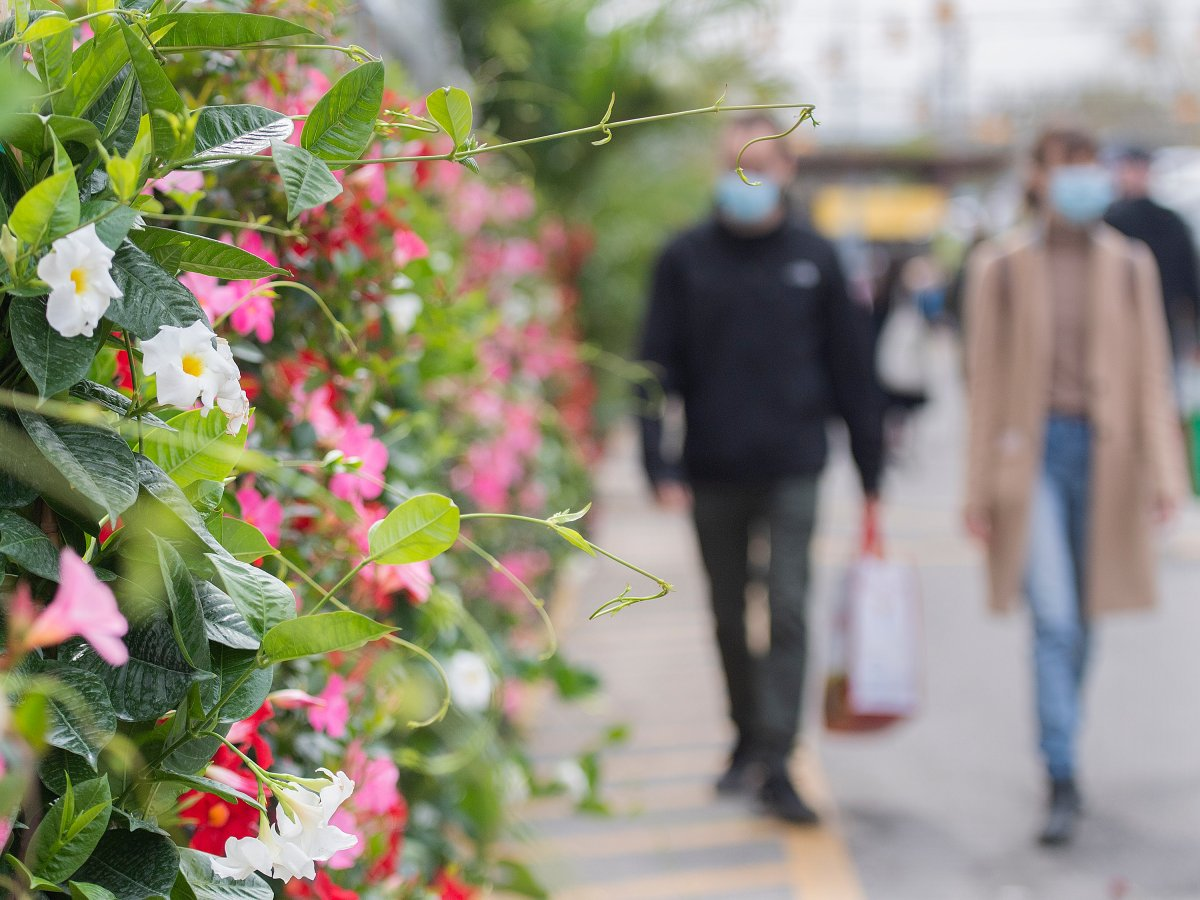 People wear face masks as they walk through the Atwater Market in Montreal, Saturday, May 8, 2021, as the COVID-19 pandemic continues in Canada and around the world.