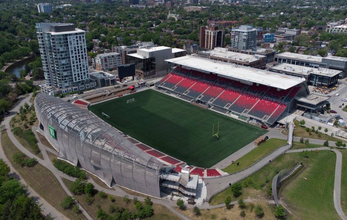 In this photo taken using a drone, TD Place is seen in Ottawa Wednesday June 2, 2021 in Ottawa.